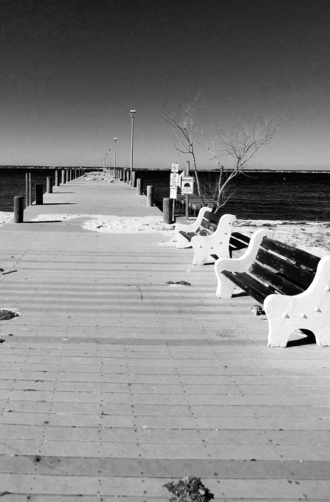 Black & White Of Sea Gull Pier At Barnegat Bay NJ