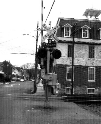 Black White Of Small Town Rail Road Crossing