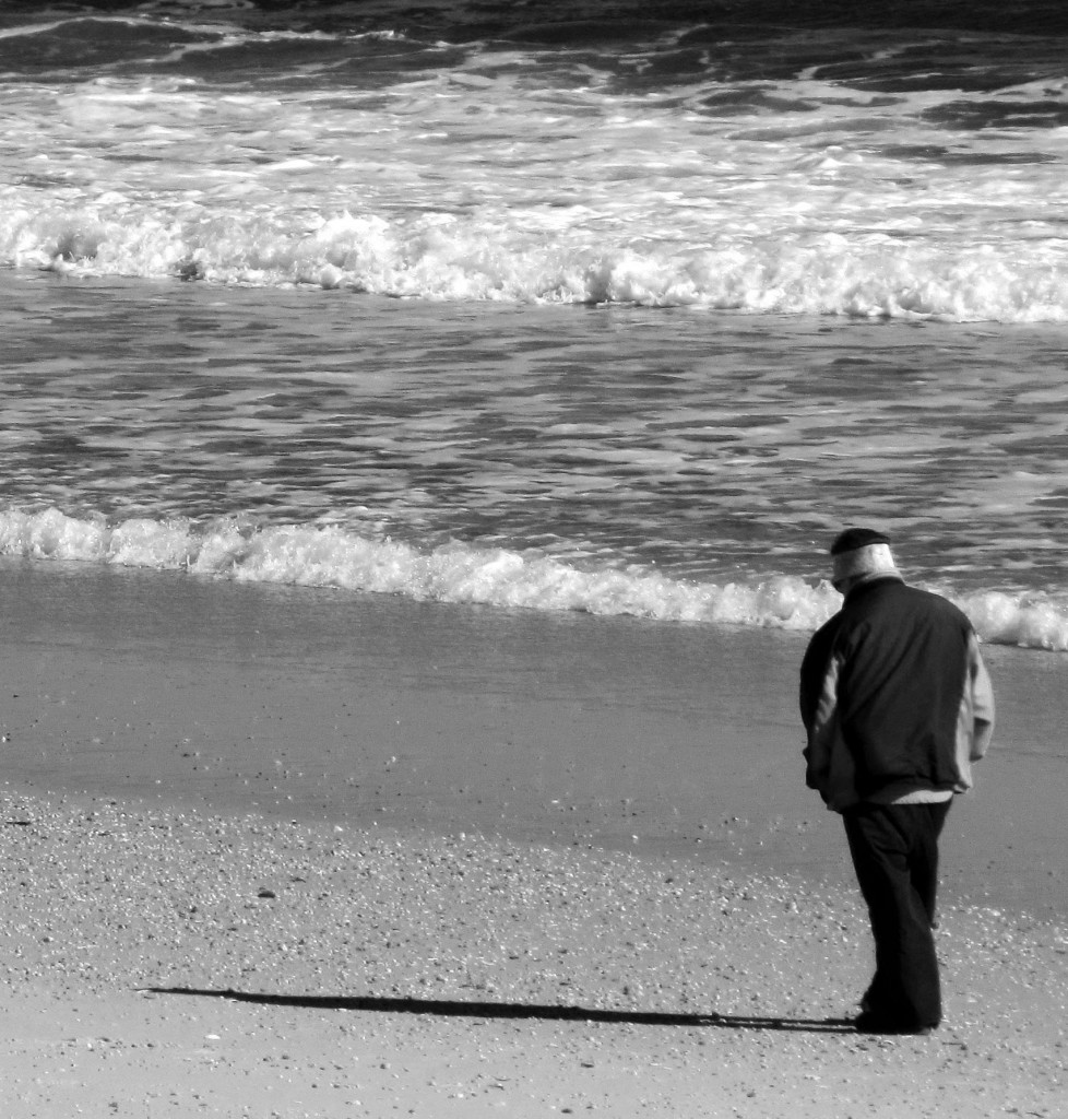 Black & White Of Winter Morning Beach Walker