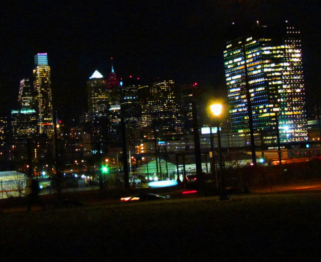 Philly Night Skyline From Drexel Park