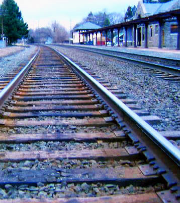 Rail Road Tracks At Wernersville Pa Station