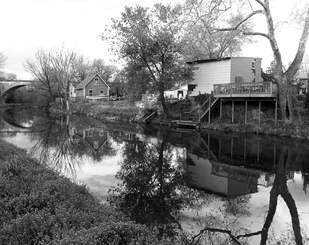 Black & White Of Canal In Providence Pennsylvania