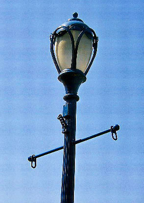 Blue Street light With Banner & Flag Holder