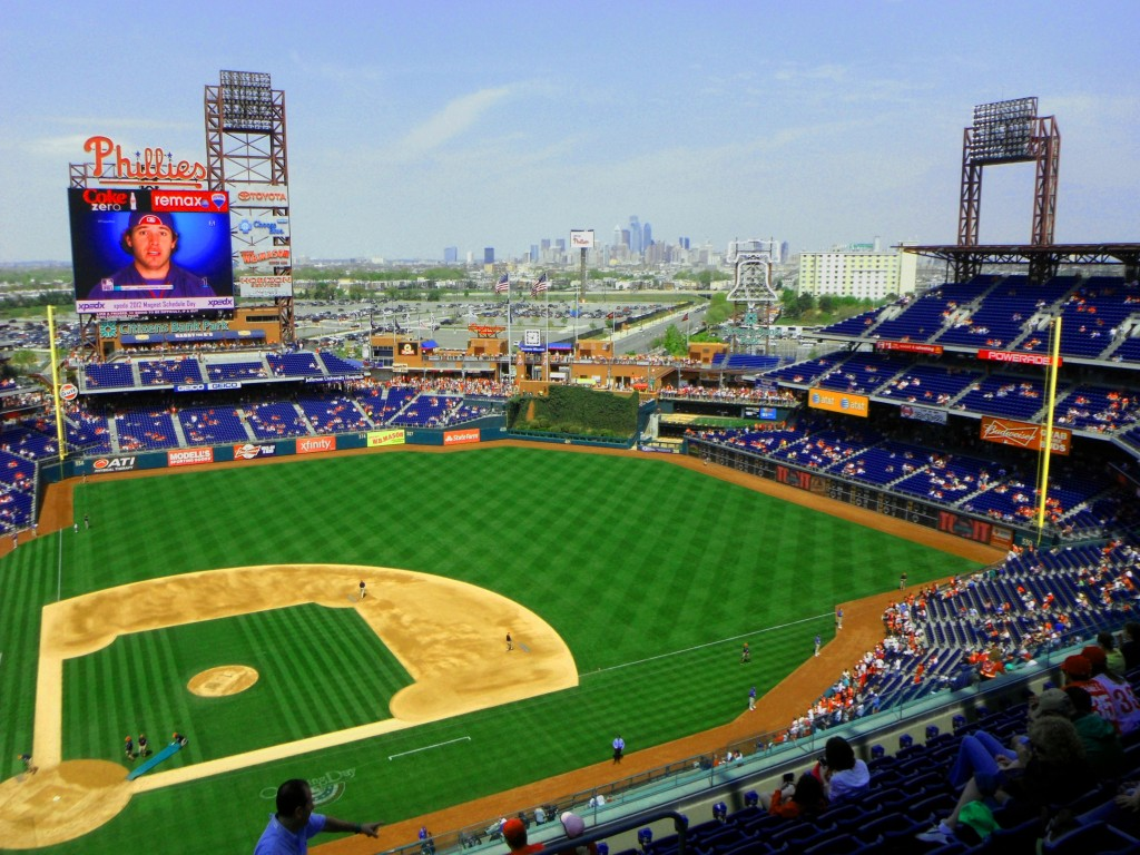 Citizens Bank Park With Philly Skyline In Background