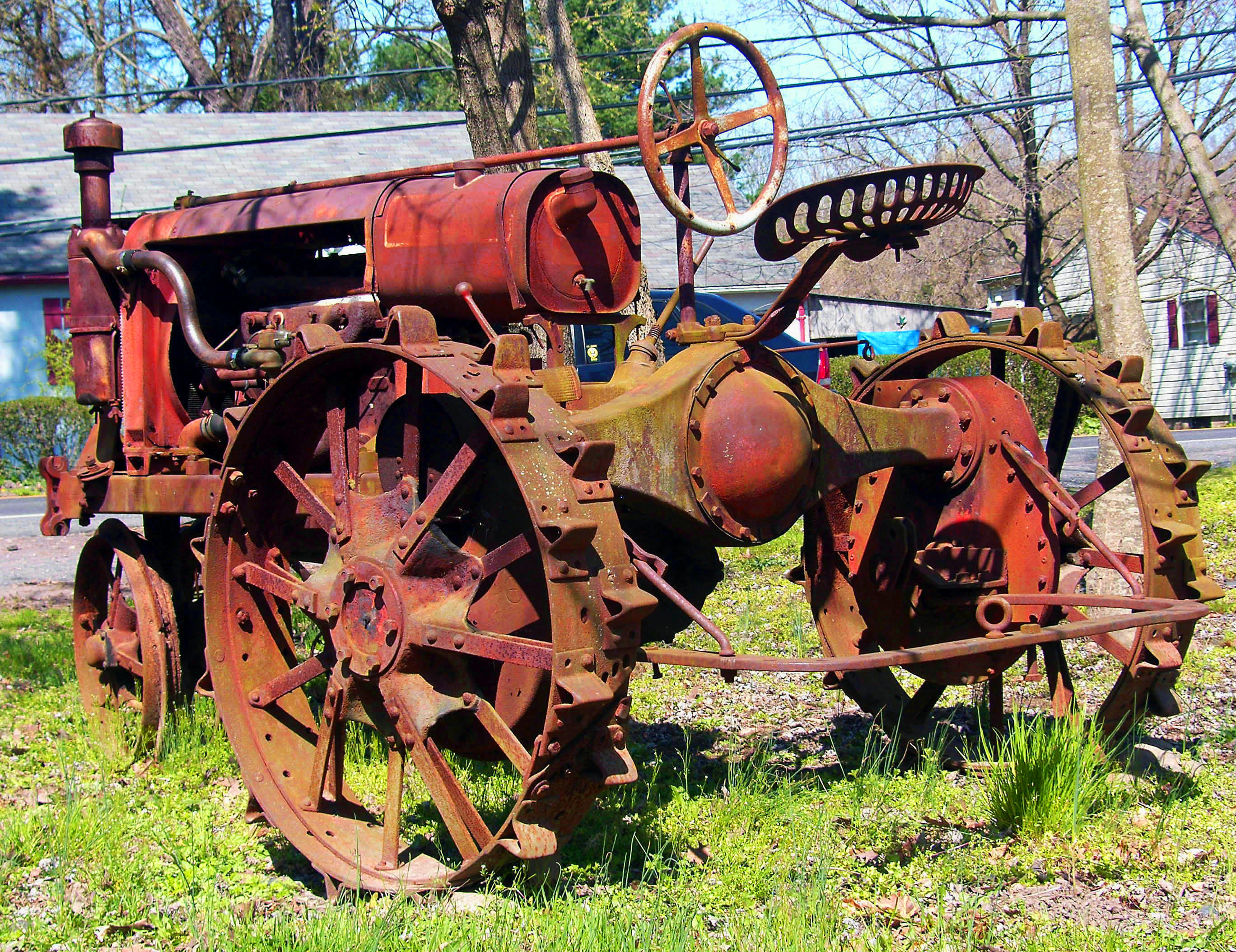 Antique Tractor Steel Wheels : Rusted red antique tractor with metal wheels love s