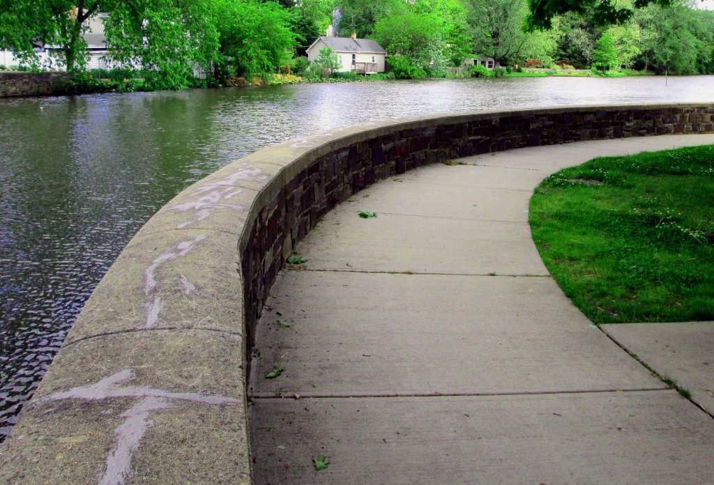 Stone Wall & Pathway Bending Around Peddie Lake