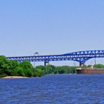 Barge Passing Boaters Island & Freshly Painted Girard Point Philly Bridge