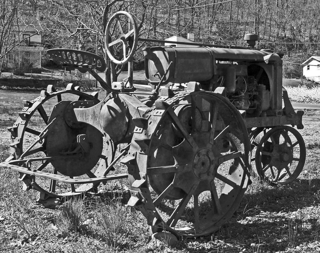 Black & White Of Antique Farm Tractor
