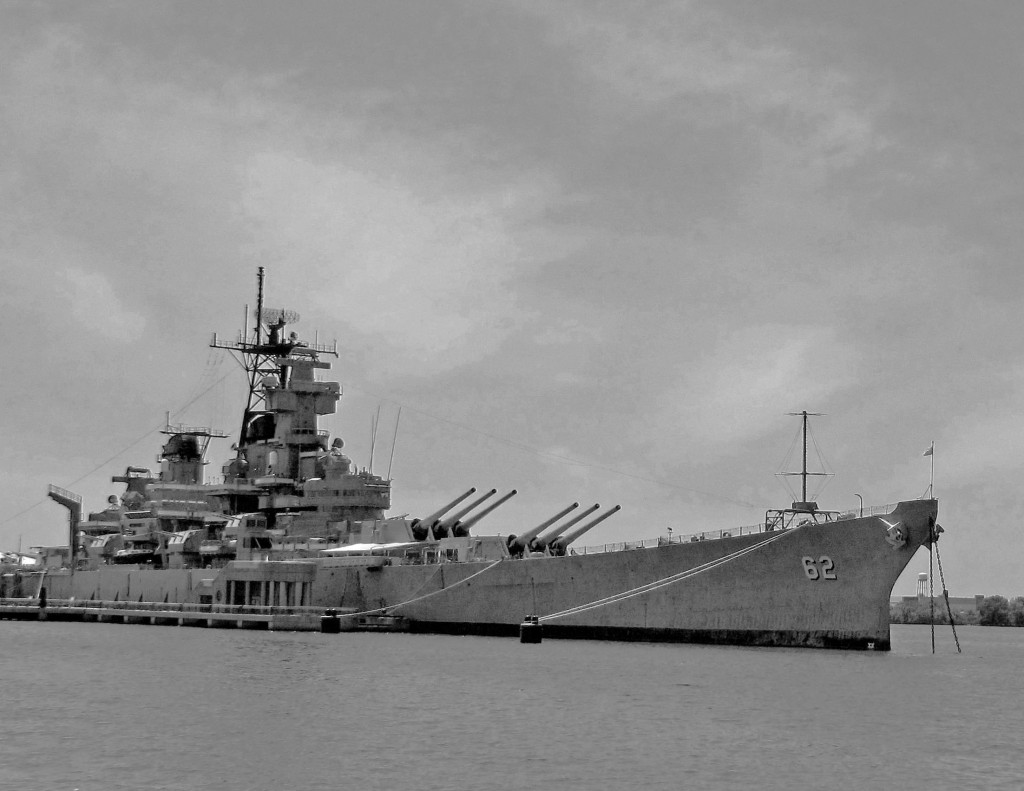 Black & White Of Battleship New Jersey Mueseum & Memorial In Camden NJ