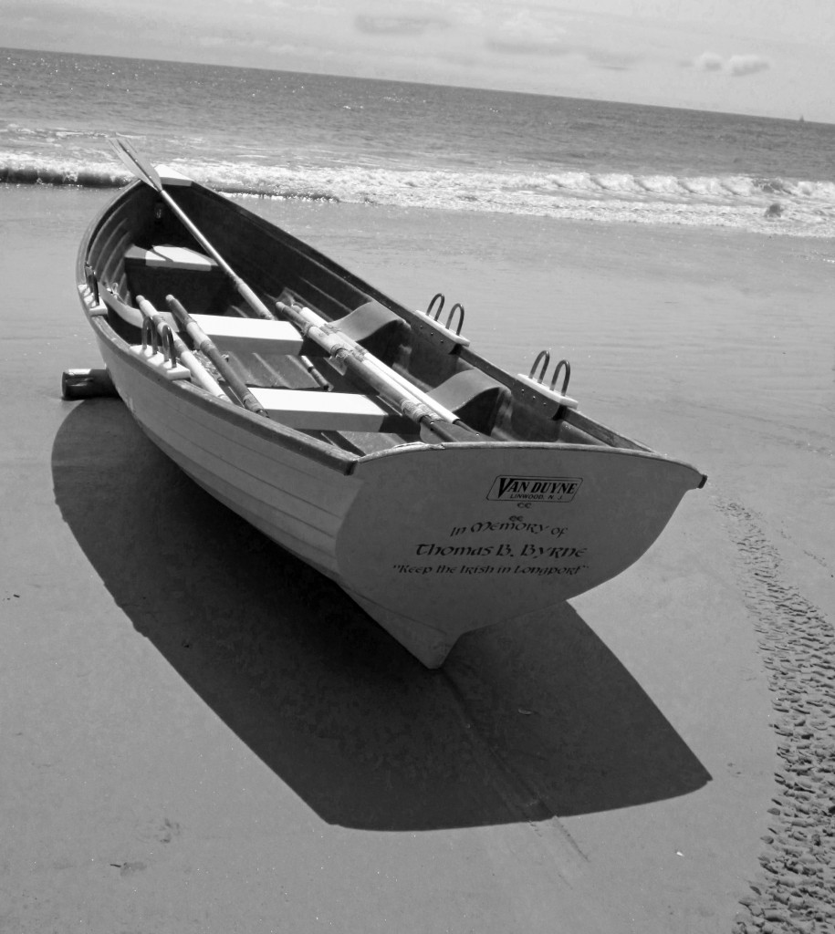 Black & White Of Beached Boat