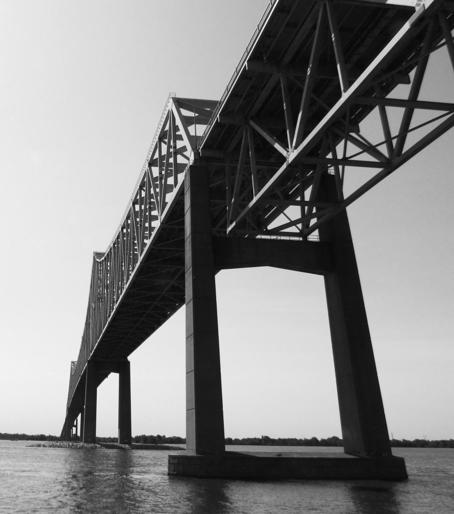 Black & White Of Bridge Over Delaware River