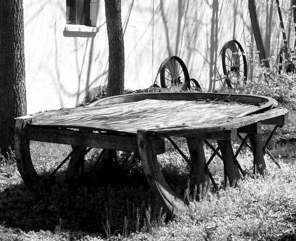 Black & White Of Wooden Antique Sleigh