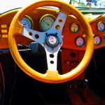 Driver's View Of TD Model Of 1952 MG Wooden Dashboard & Steering Wheel