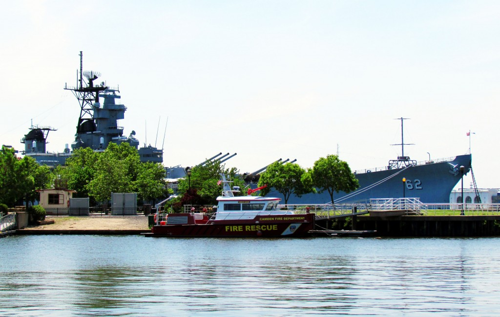 Fire Rescue Boat & The Battleship New Jersey At Camden Waterfront Park