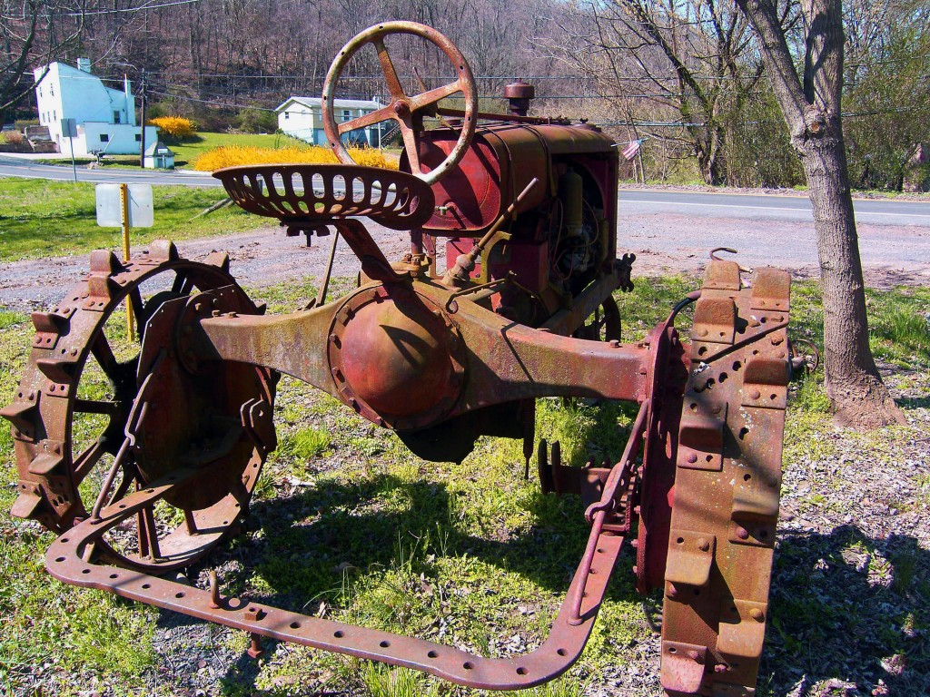 Rear View Of Antique Farm Tractor