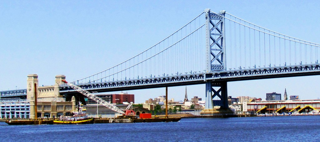 Ben Franklin Bridge Being Approached By Tug & Barge