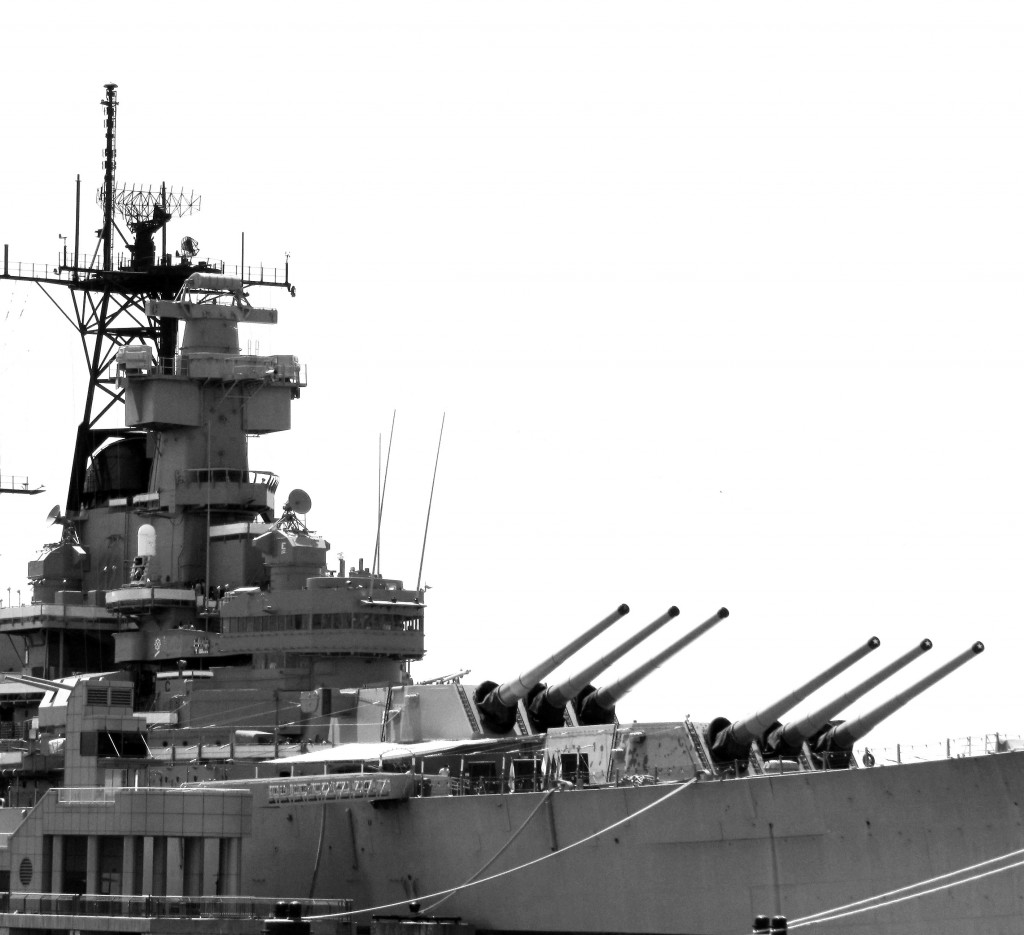 Black & White Of Mark 7 Guns On USS New Jersey