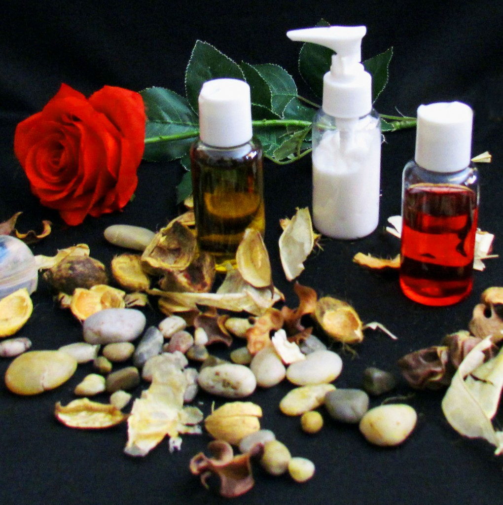 Massage Therapy Oils Displayed With Red Rose & River Stones