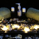 Massage Therapy Towel & Oil Display