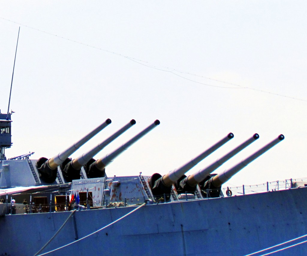 Triple Turrets Of Mark 7 Guns On Battleship New Jersey