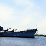 Tug & Barge Passing By USS New Jersey On The Delaware River