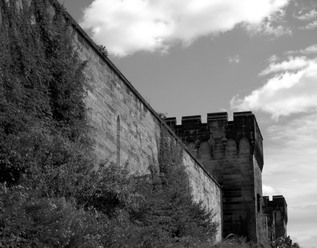 Black & White Front Wall Of Eastern State Penitentiary
