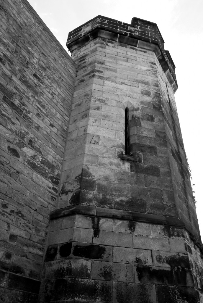 Black & White Of Prison Guard Tower