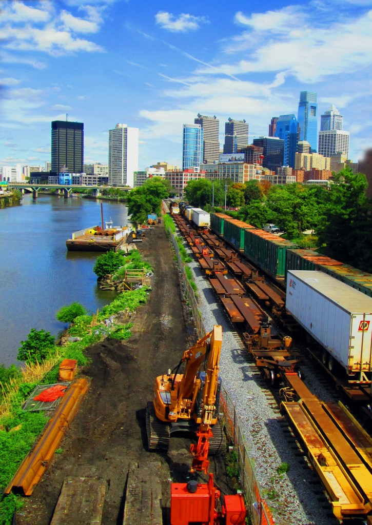 Freight Trains Along Schuylkill River In Philadelphia