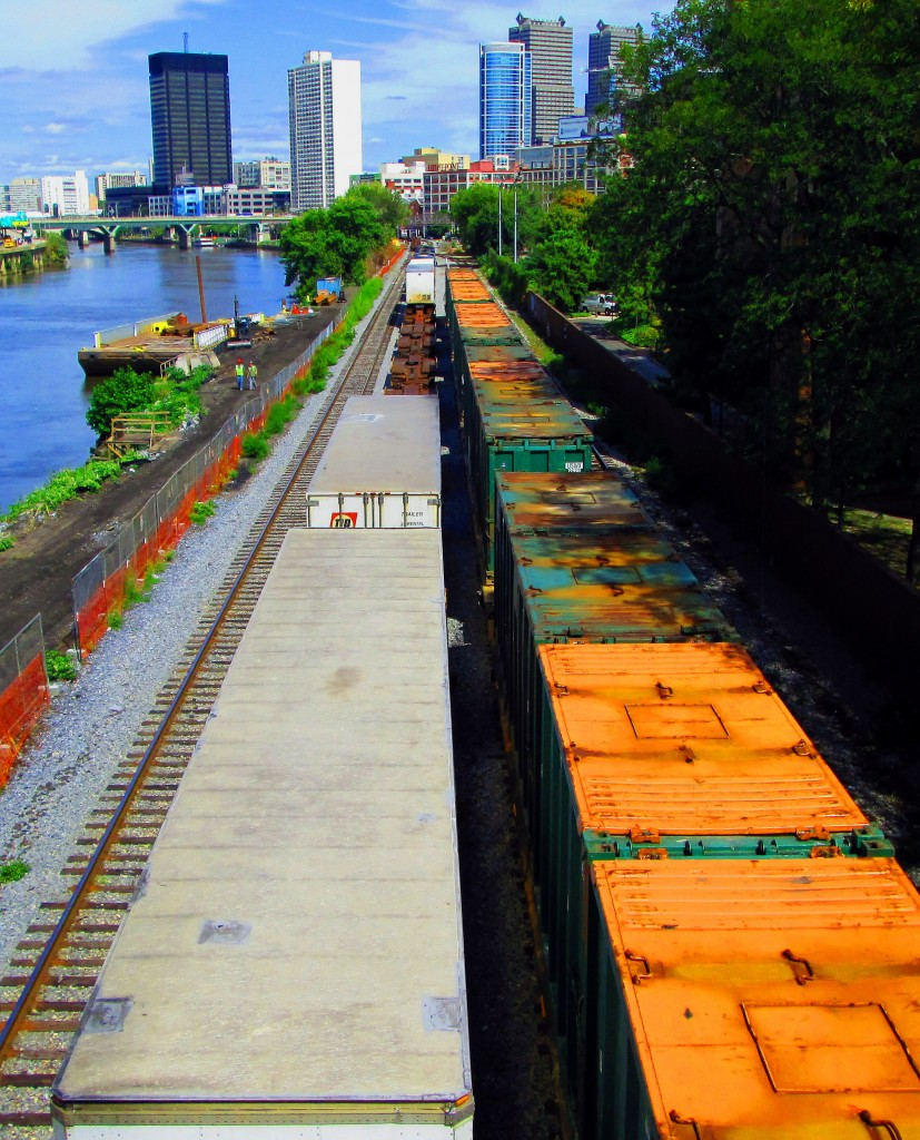 Freight Trains Lined Up Along The Schuylkill River In Philly