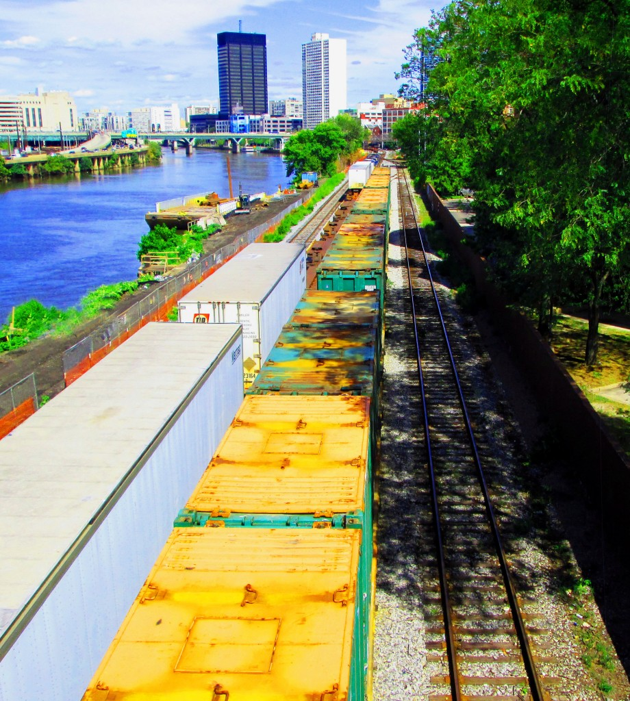 Freight Trains Parked On The East Side Of Schuylkill River By South Street
