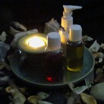 Votive Candle Display With Massage Oils