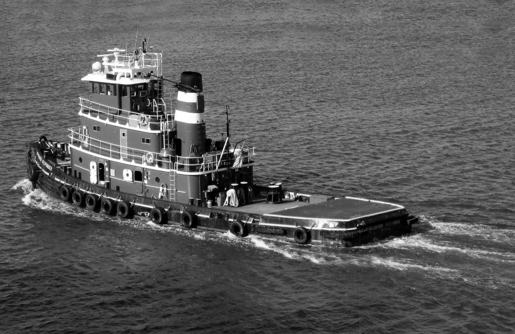 Black & White Of Tug Boat