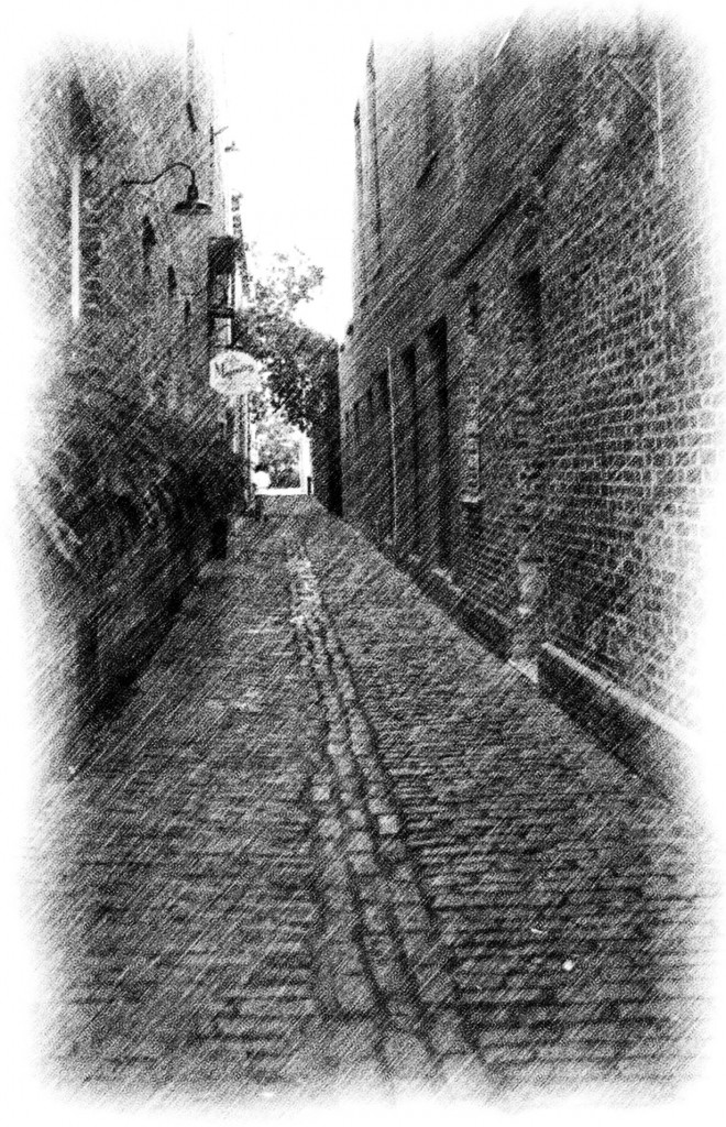 Cobblestone Alley Pencil Sketch