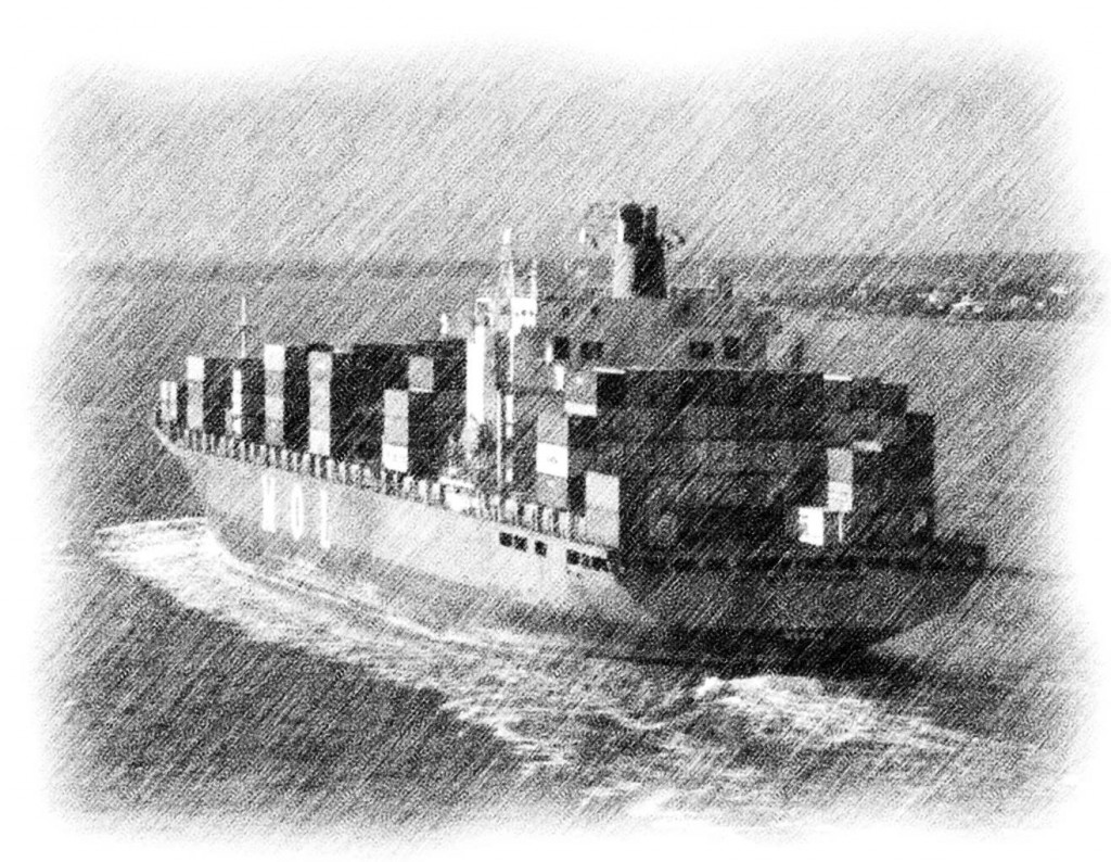 Pencil Sketch Of Container Ship In Charleston Bay