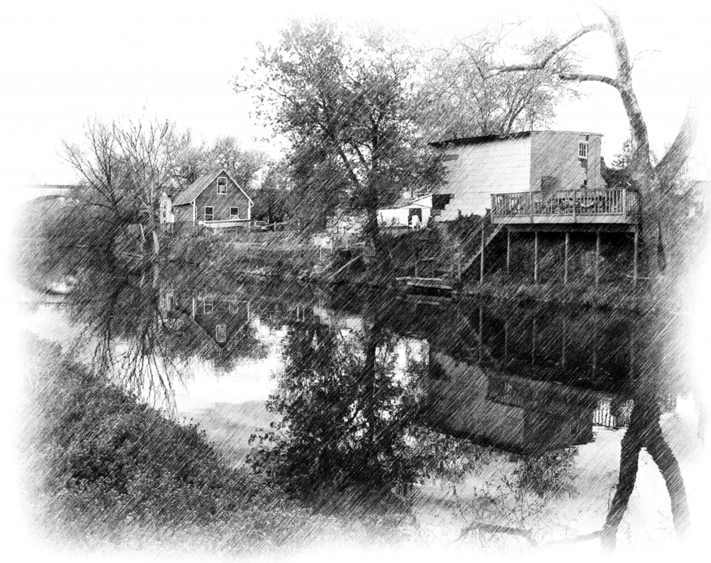 Providence Pennsylvania Canal Pencil Sketch