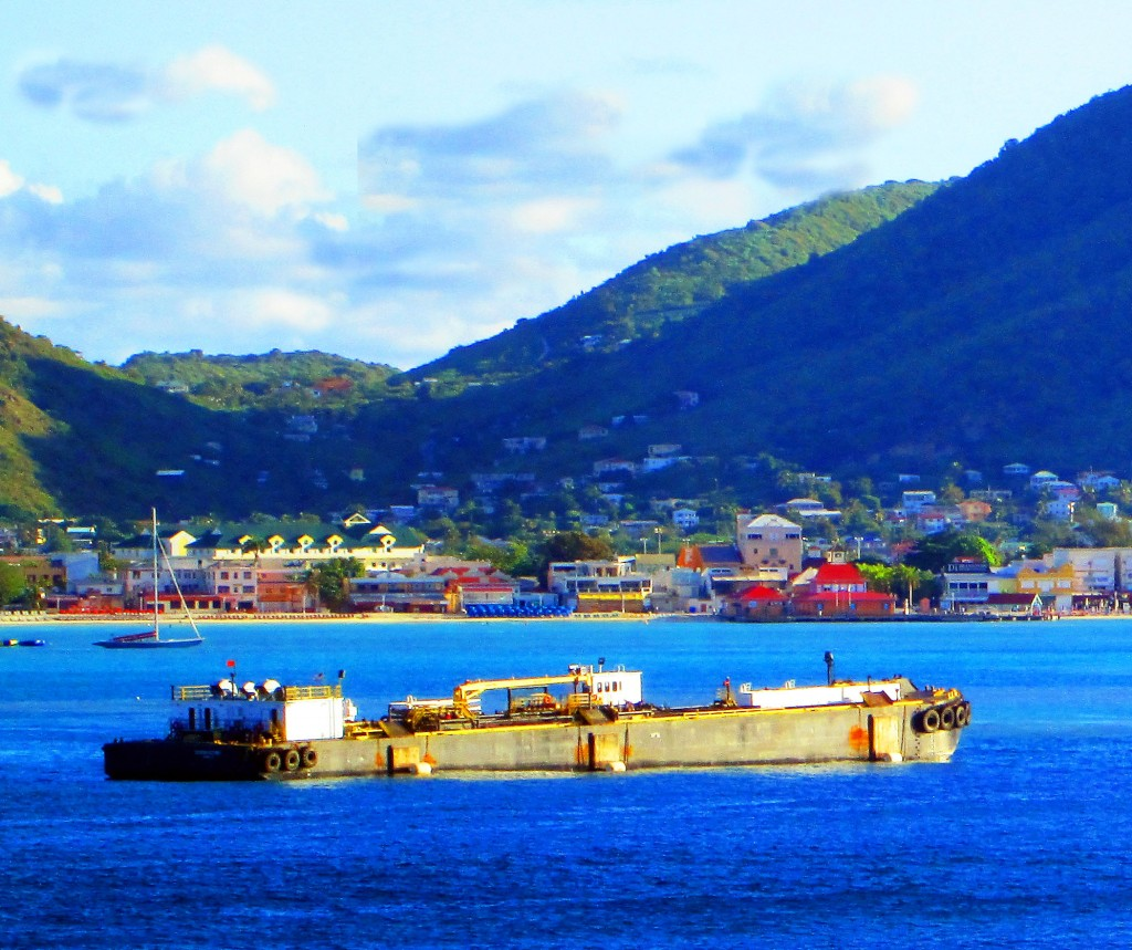 Anchored Barge In St Maarten