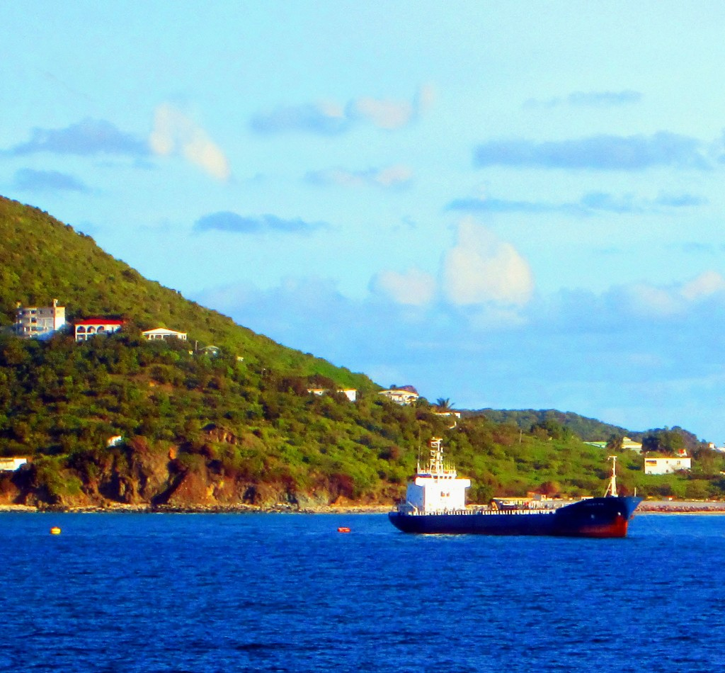 Caribbean Sea Freighter Anchored In St Maarten