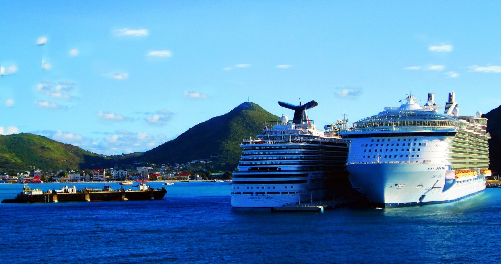 Cruise Ships And Barge In Great Bay St Maarten