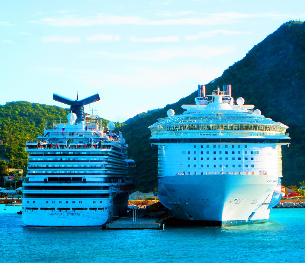 Cruise Ships Side By Side In Great Bay St Maarten