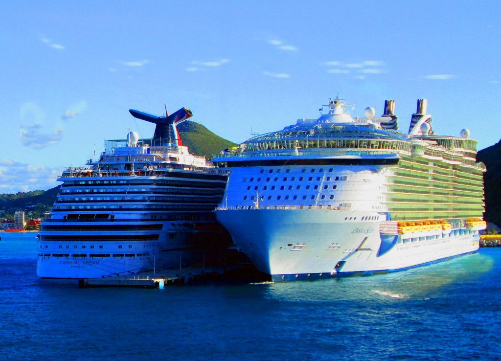 Royal Caribbean Oasis Of The Seas And Carnival Dream In St Maarten