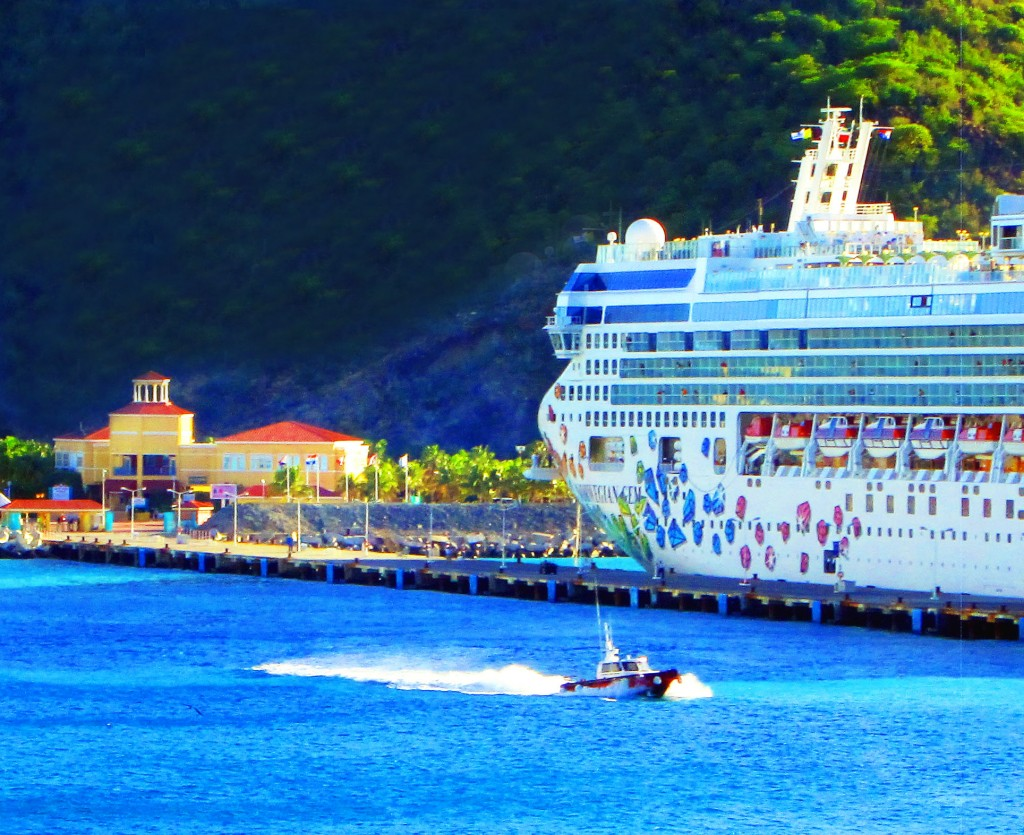 St Maarten Pilot Boat Passing By Norwegian Gem Cruise Ship
