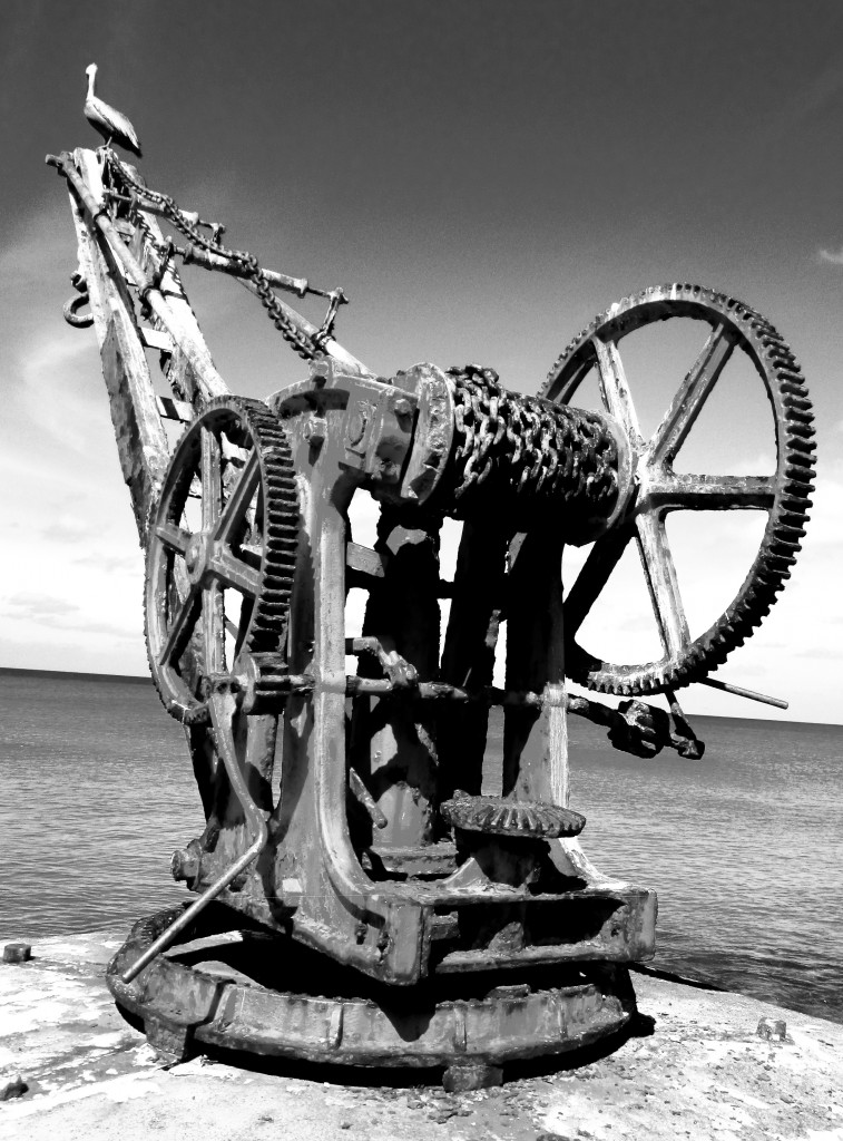 Black & White Of Antique Marine Lifting Crane