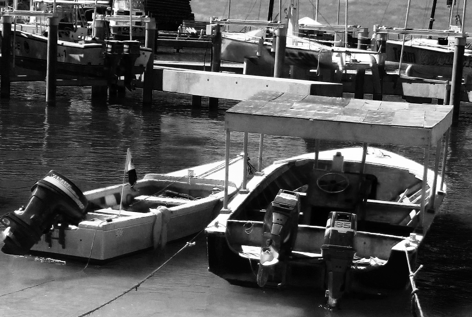 Black & White Of Moored Caribbean Fishing Boats