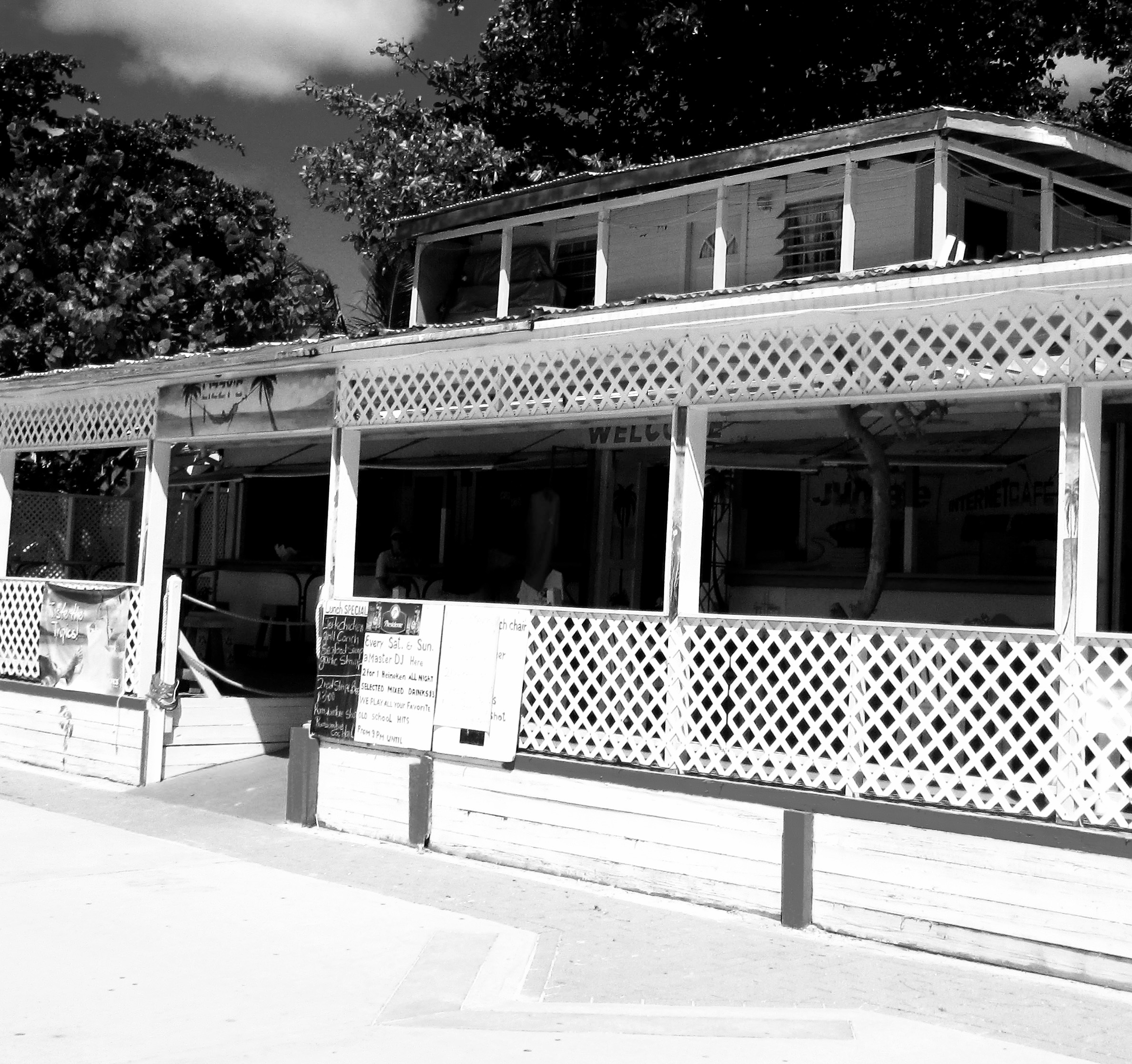 Black & White Of Old Philipsburg Bar On St Maarten Boardwalk