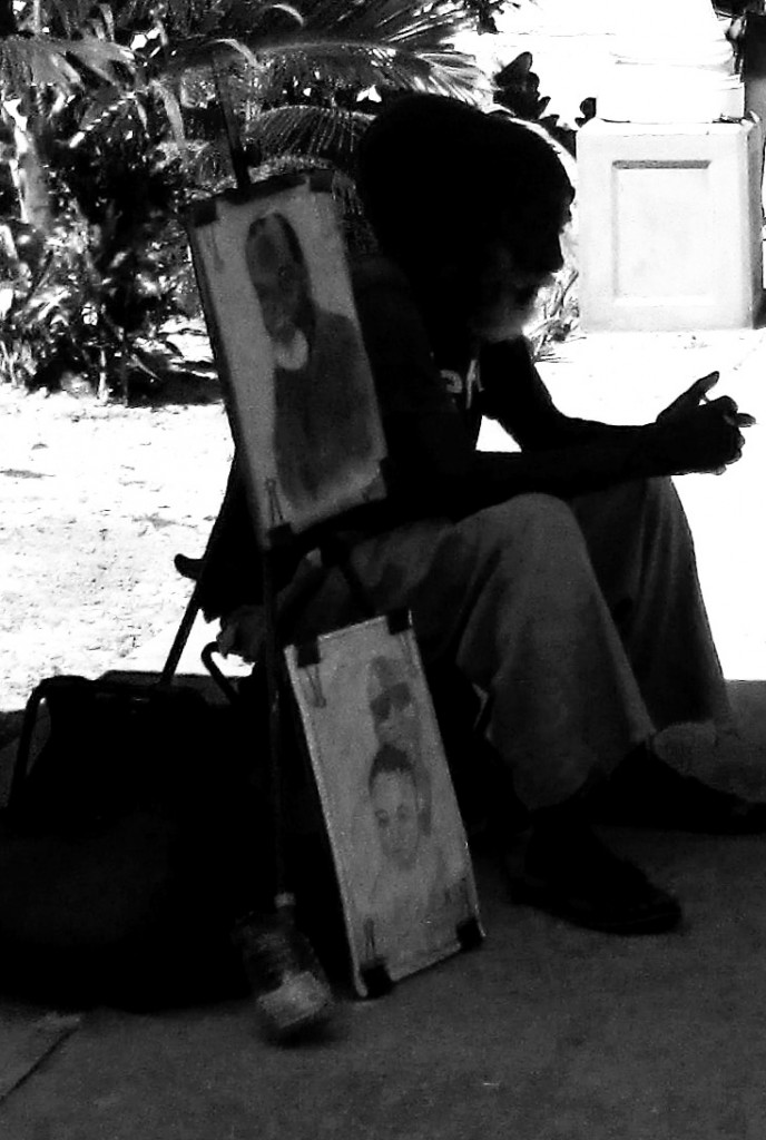 Black & White Silhouette Of St Maarten Artist Street Vendor