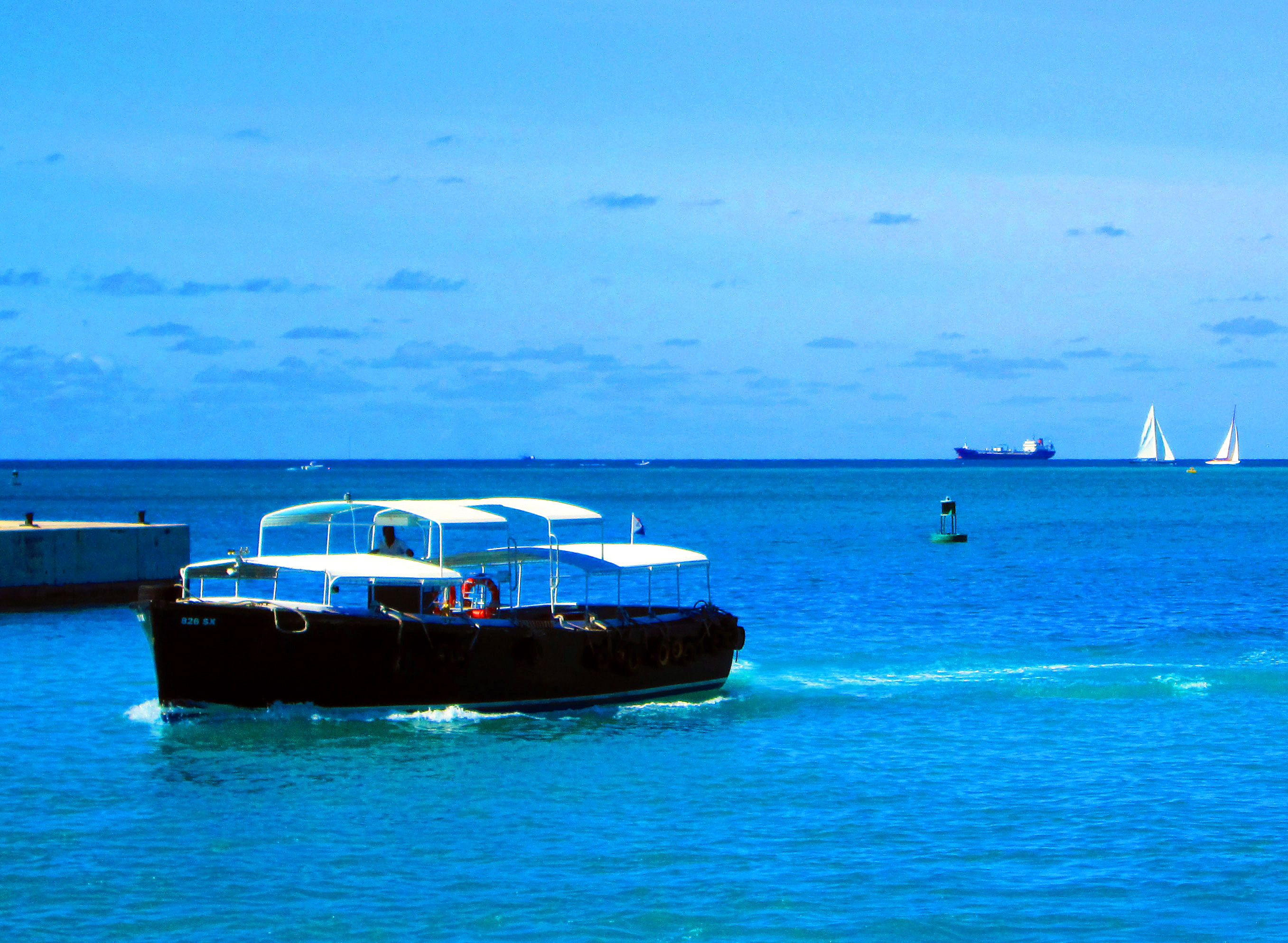 Caribbean Water Taxi Arriving At Terminal