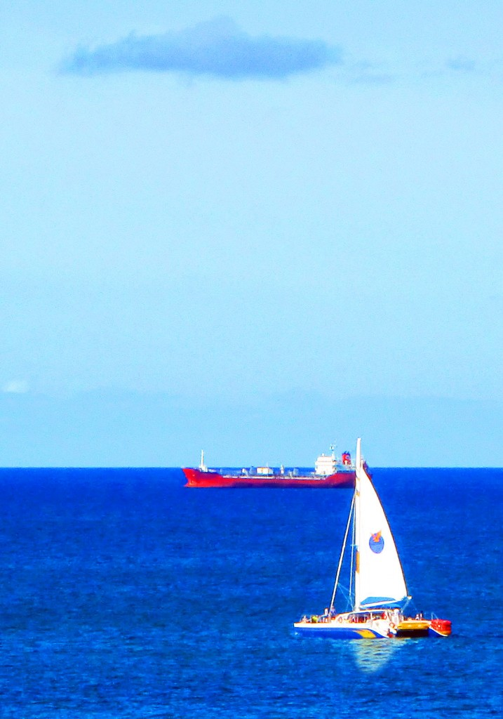 Catamaran & Sea Freighter In Great Bay St Maarten