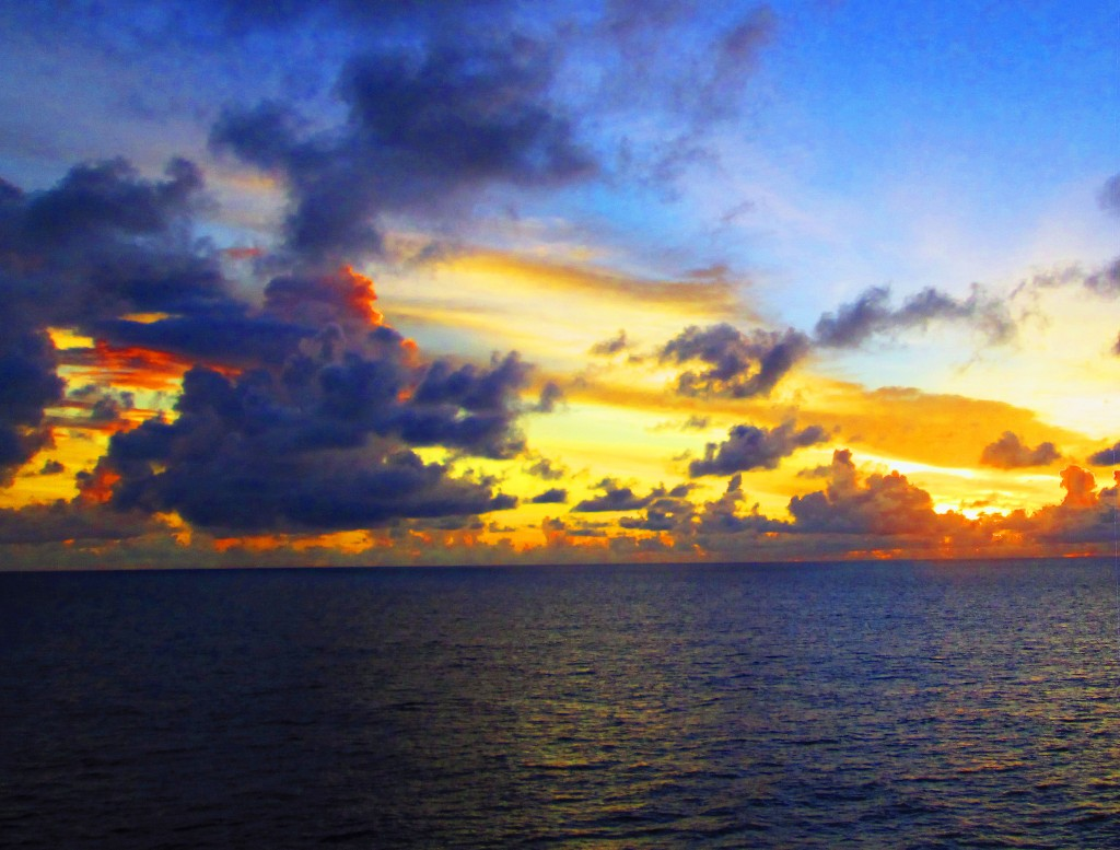 Colorful Morning Sky Over Calm Caribbean Sea