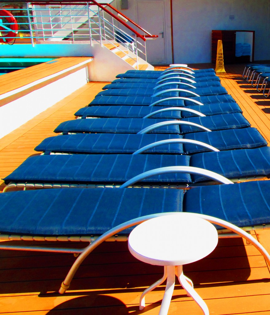 Cushioned Deck Lounges Lines Up