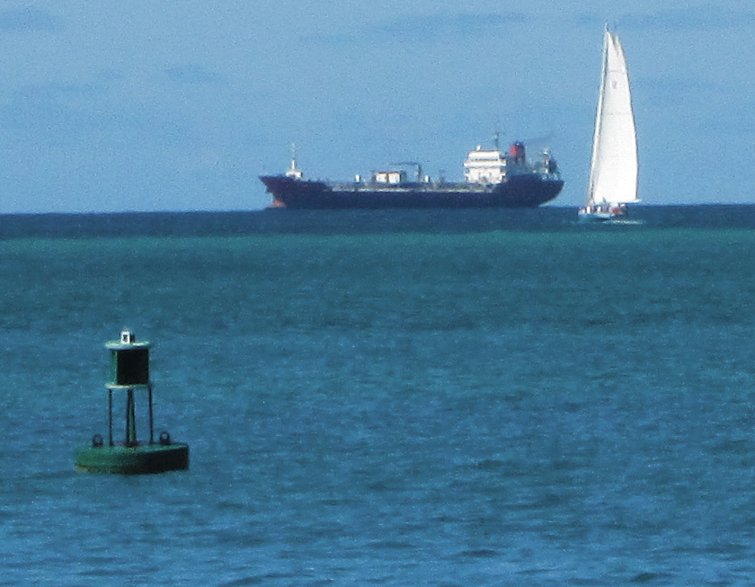Green Buoy Sea Freighter & Sail Boat On Great Bay
